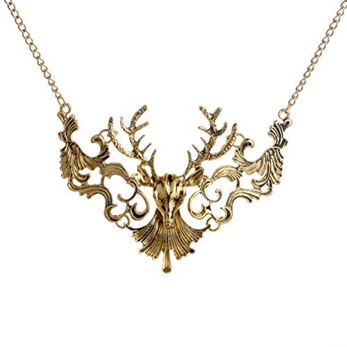Yazilind Jahrgang-Rotwild-Kopf-Form-Legierungs Bronze Kragen Lätzchen Halskette Frauen