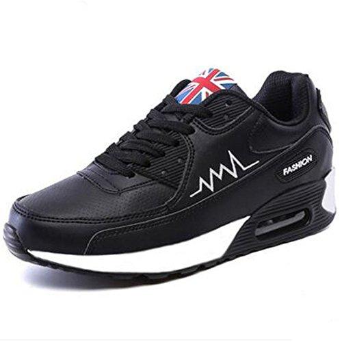 Wealsex Baskets Chaussures Jogging Course Gym Fitness Sport Lacet Sneakers Style Running Multicolore Respirante Femme noir pu cuir