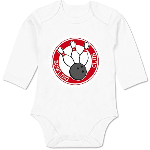 Sport Baby - Bowling Club Badge Abzeichen - 12-18 Monate - Weiß - BZ30 - Baby Body Langarm (Shirt Bowling Club)