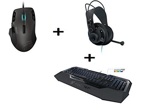 Gaming Set by Fiducia ROCCAT B-Ware Isku FX Multicolor Tastatur + ROCCAT Tyon B-Ware All Action Multi-Button Laser Maus 8200dpi + ROCCAT Renga Over-Ear Headset Kopfhörer + Gratis Fiducia Mauspad