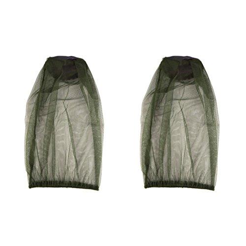 Yardwe 2pcs Anti-Moustique Abeille Insecte Mouche Capuchon Masque avec tête Filet Maille Protection du Visage équipement de pêche en Plein air