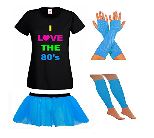 Ladies I Love The 80s Shirt and Accessories Set - choice of colours - XS to 3XL