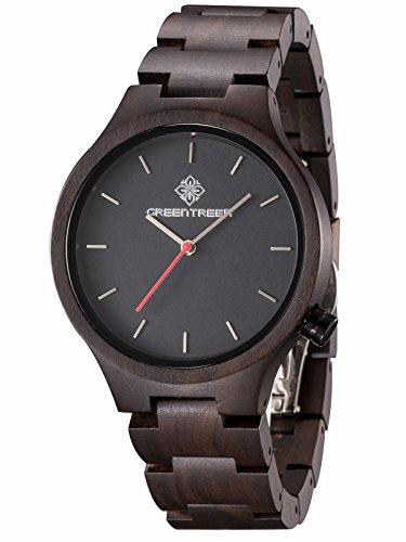 GREENTREEN Quarz Armbanduhr Naturholz Uhr Herren Uhren handgefertigt schwarzes Sandelholz