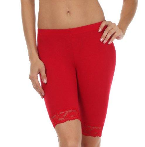 Sakkas 460060 Cotton Lycra-Mischung Spitze-Ordnungs-Stretch Bike Shorts - Made in USA - Rot - L (Shorts Bike Spandex)