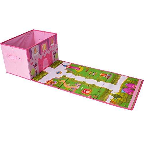te-trend Tejido faltbox Caja de Juego Chicos Chicas Alfombra de Juego CARRETERAS Cierre Caja organizadora juego habitación juego se puede cerrar AZUL ROSA - Parque del Castillo Rosa