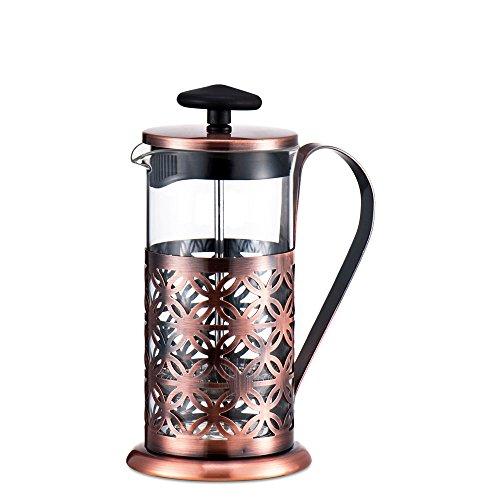ufengke® 600Ml Francés Prensa Cafetera De Acero Inoxidable Cobre Plateado Tetera Con Filtro De Tres Capas
