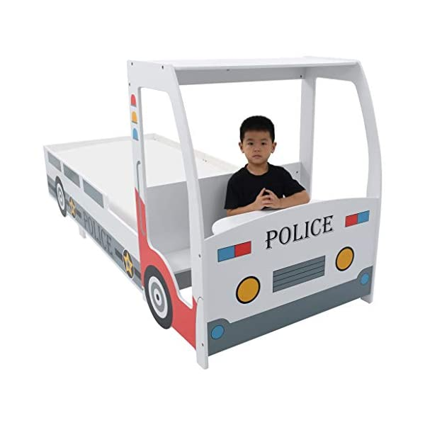 Festnight` Children's Police Car Bed with Desk 90x200 cm Festnight Overall dimensions: 260,5 x 97 x 117 cm (L x W x H) Featuring an appealing police car design and solid construction, this children's bed will be a real eye-catcher in your kid's bedroom. Comfortable, functional, and aesthetically-pleasing, this bed is designed to ensure the utmost comfort and maximum safety for kids. 4