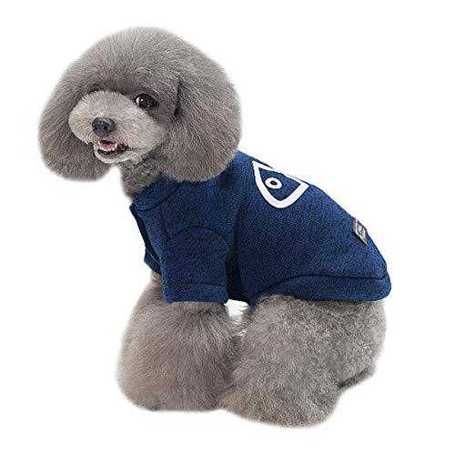 Milya Hundemantel Jacke Winter Strickwolle Wärmere Kleidung, Fisch Blau L -