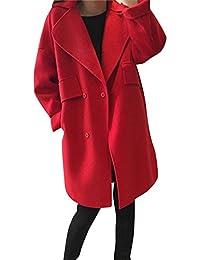 La Mujer Elegante Invierno Mezcla De Lana Gabardina Abrigos Mangas Largas Chaquetas Rojo L