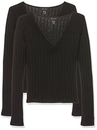 New Look 2 Pack Wide Rib, Maglietta a Maniche Lunghe Donna, Nero (Black 1), 48