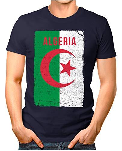 OM3® - Algeria-Flag-Vintage - Herren T-Shirt | Algerien Flagge Fussball Soccer Fanshirt Sport Trikot | Navy L Caf ? Cup