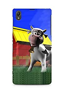Amez designer printed 3d premium high quality back case cover for Sony Xperia Z1 C6902 (Cartoon Cow 3D)