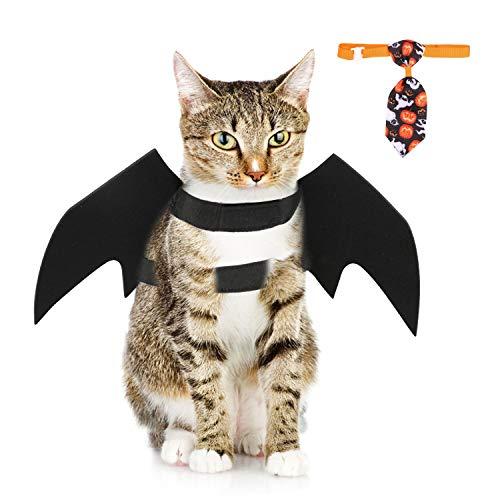 Howaf animale domestico halloween costume per cane gatto, regolabile pipistrello ala halloween vestiti con cravatta per animale domestico halloween finti vestito travestimenti cosplay accessori