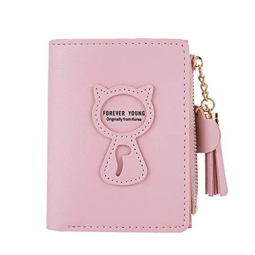 Dorical Geldbörse für Damen Mädchen Süß Cat PU Leder mit RFID Schutz, Kurzer Klein Clutch Brieftasche,Damentaschen, für Geschenke (12 * 1.5 * 9.5cm) Ausverkauf(Rosa)