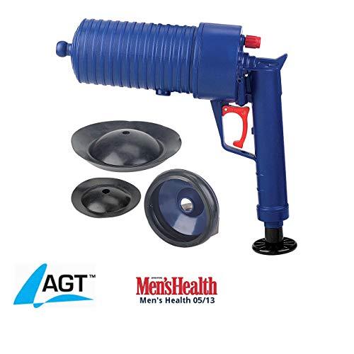 AGT Abfluss Pistole: XL-Pressluft-Rohrreiniger mit handlichem Pistolengriff und 3 Aufsätzen...