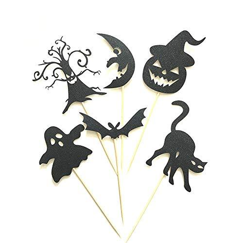 Rishx 6pcs Halloween Kuchen Dekoration Flagge, kreative Batman Baum Katze Fairy Moon Festival Grußkarte Set