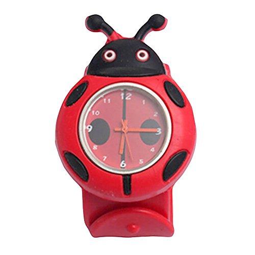 MMRM niños reloj de pulsera de silicona Animal lindo del dibujo animado reloj de cuarzo de Navidad regalo(Mariquita)
