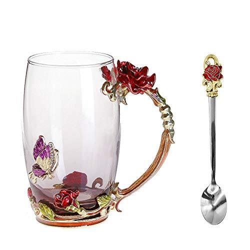 Emaille-Glas Becher: Kristall-Glas Tasse mit Emaillöffel (370ml - Red Rose), Rutschfester Untersetzer & Tuch