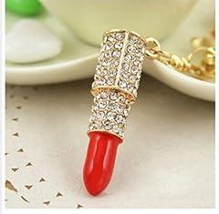 Idea Regalo - Rossetto con strass chiave metallo dorato ciondolo in diversi colori (rosso)