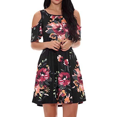 Elecenty Damen Schulterfrei Strandkleid Knielang Kurzarm Blusekleid Sommerkleid Rock Mädchen Kleider Frauen Mode Kleid Minikleid Blumen Drucken Kleidung Partykleid Stretch Velvet Mini