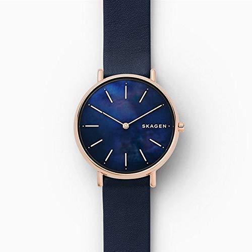 Skagen Damen Analog Quarz Uhr mit Leder Armband SKW2731