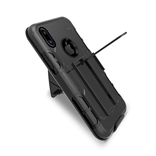 iPhone X Custodia, MOONMINI 3 in 1 Dual Layer Heavy Duty Hybrid Case Slim Fit Shockproof Back Cover Non-slip Full Body Protective Shell for iPhone X with Kickstand Nero