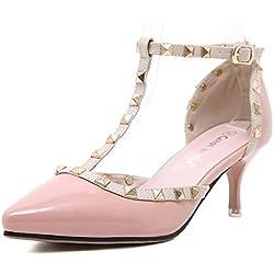 YE Damen High Heel Spitze Geschlossen 6cm Absatz Stiletto T-Strap Lack Leder Pumps Mit Riemchen Nieten Vintage Schuhe (38EU, Rosa)