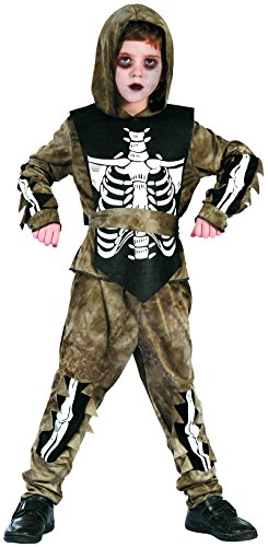 plettes Skelett Zombie Kostüm Kinder Halloween - Kostüm Skelett Jungen (134/140) (Skelett-kostüme Für Jungen)