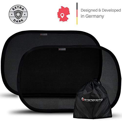Systemoto Auto Sonnenschutz für Babys - Extra dunkel mit zertifizierter UV-Schutz - 2er Set Selbsthaftende Sonnenblenden für Kinder (Schwarz)