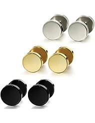 Jstyle Joyería de Acero Pendientes de Acero Pequeño Tres Pares con Diferentes Colores Negros Pendientes de Oro y de Plata Para hombres y Mujeres