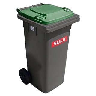 SULO Mülltonne MGB 120 grau mit Grünem Deckel