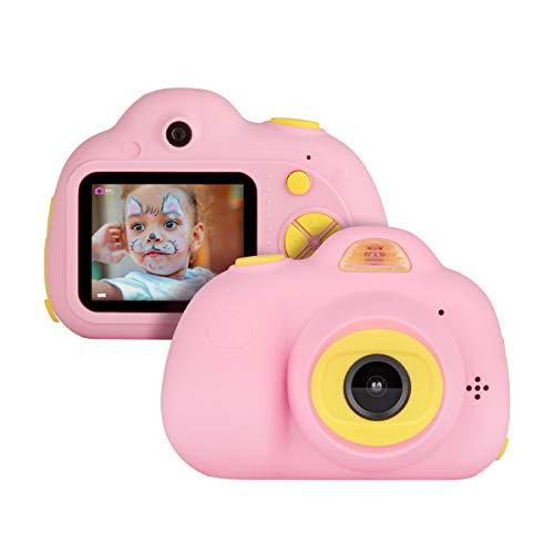 Miavogo Kinderkamera mit Dual-Objektiv 8 Megapixel 2 Zoll Display Kamera für Kinder (Rosa)