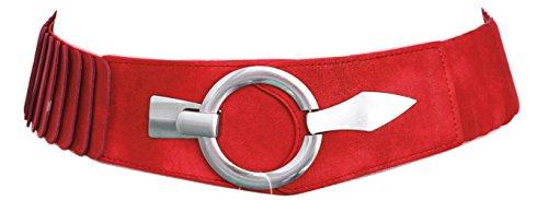 Damen Gürtel Leder Taillengürtel Hüftgürtel One Size Stretch Gürtel #SA-73 (Uni Rot) -