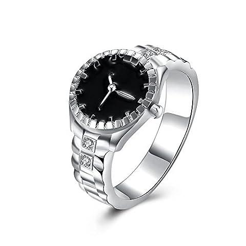 Hunpta Mode Frauen Mens Zifferblatt Quarz analoge Uhr kreative Cool Stahllegierung Finger Ring Uhr (Größe 10)