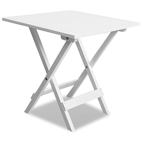 vidaXL Table Basse/d'appoint de Jardin Blanc en Acacia Table Pliable d'extérieur