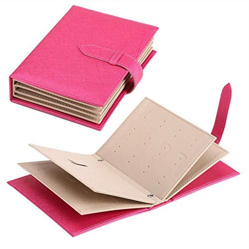SODIAL Schmuck Aufbewahrungs Buch Ohrstecker Sammlung Buch Muster Tragbare Schmuck Display Kreative Schmuck Organizer Aufbewahrungs Box Rose Rot