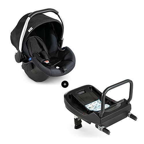 Hauck Babyschale Comfort Fix inkl. Isofix Base/ECE Gruppen 0 ab Geburt bis 13 kg nutzbar/leicht/Seitenaufprallschutz/mit Isofix Base kompatibel/Schwarz (Black)