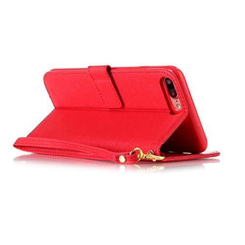 iPhone 7 Plus Custodia inShang cover per iPhone 7 Plus 5.5,Cover Supporto rigido per iPhone7 Plus iPhone 7 Plus Case in pelle PU, Custodia a portafoglio con taschini, Wallet design with card slot red