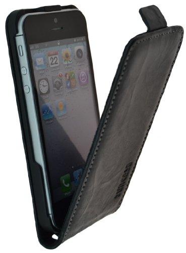 Suncase Original Étui ® * Cuir véritable * Flip Style pour le Apple iPhone 5/5S Wash-Schwarz