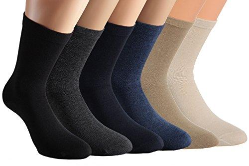 Vitasox 31120-21 Herren Socken Extra weit Baumwolle Gesundheitssocken Sensibel Ganz ohne Gummi ohne Naht 8er Set Natur-Töne&Schwarz Anthrazit 39/42