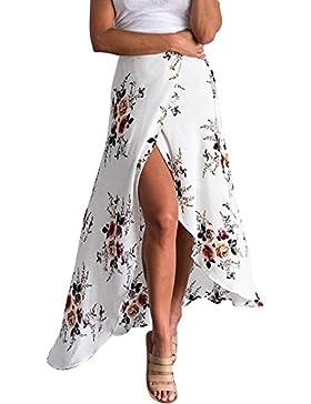 Vestidos Moda Bohemia Flor Impresión Asimétrico Lado Slipt Largo Falda Imperio Cintura