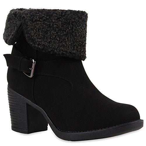 Gefütterte Damen Stiefeletten Teddyfell Blockabsatz Boots Schwarz