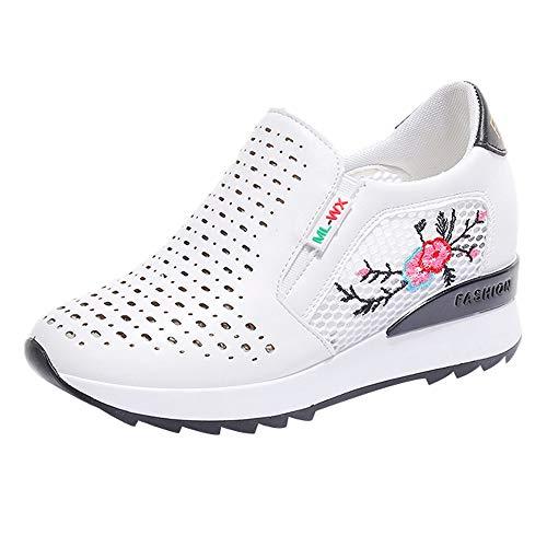 DOGZI Sneakers Damen Turnschuhe Damen High Top Laufschuhe Damen Wanderschuhe Damen Frauen Sportschuhe Mesh Atmungsaktiv Inner Increase Lässig Studenten Sportschuhe Bestickte Schuhe - Bestickte Sneakers