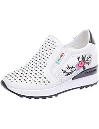 Mujer zapatos deportes,Sonnena ❤️ Malla Transpirable Interior Aumentar el grosor de los zapatos Calzado deportivo informal para estudiantes Zapatos bordados