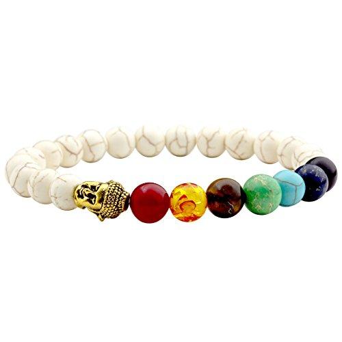 JOVIVI Schmuck, Lava-Armband Damen Herren Reiki-Energietherapie Armreif 7 Chakra Healing Buddha-Armband,Weiß Türkis Stil