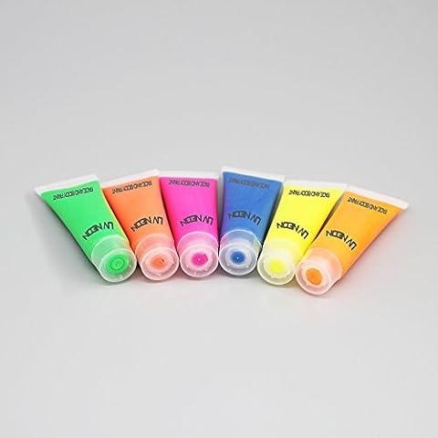 Fluorescent UV Neon Peinture Visage et Corps tubes 6 x 10ml - lueur partie Clubbing fête rave by CASCACAVELLE