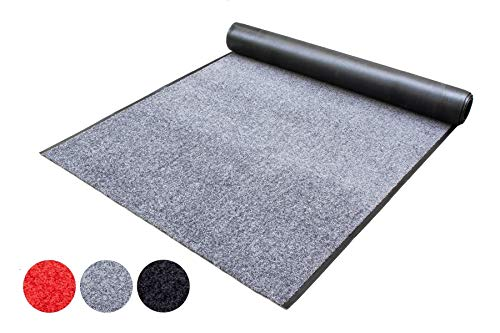 Schmutzfang-Läufer Teppich Meterware Schmutzfang-Matte WASH and CLEAN - Anthrazit 90 x 100 cm, Waschbarer, Rutschfester, Wasserabsorbierender Küchenläufer, Sauberlauf, Fußmatte für Innen und Außen