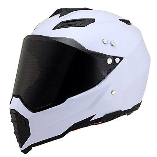 Woljay Off Road Helm Motocross-Helm Motorradhelm Motocrosshelme Fahrrad ATV (S, Weiß)