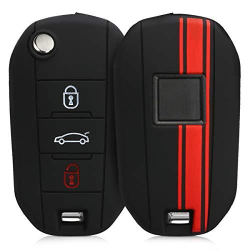kwmobile Funda para Llave Plegable de 3 Botones para Coche Peugeot Citroen - Carcasa Protectora [Suave] de [Silicona] - Case de Mando de Auto con diseño de Rally