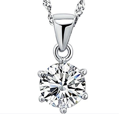 Summens Damen Herren Halskette mit Anhänger 925 Sterling Silber Einfache Runde AAA Zirkonia--Anhänger +Kette Diamant-runder Anhänger